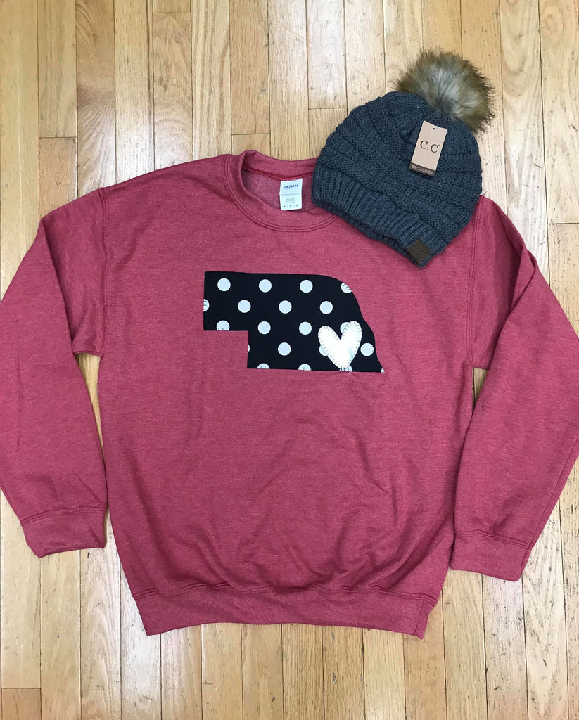 HEATHER SCARLET CREWNECK WITH BLACK POLKA NEBRASKA