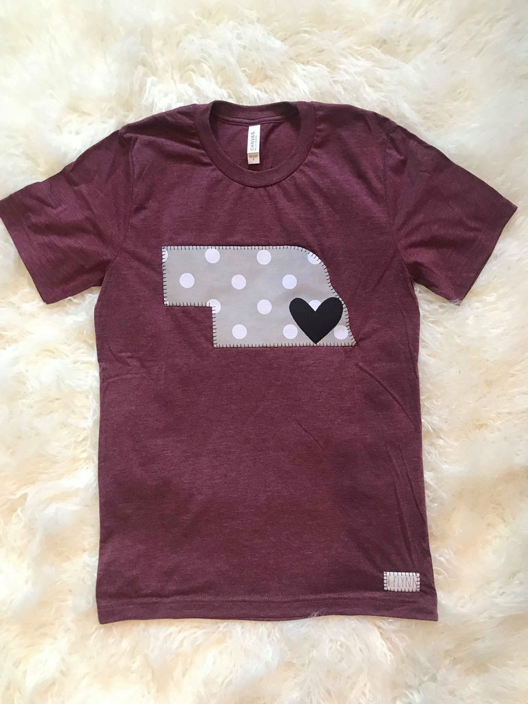 POLKA STATE AND HEART MAROON TEE