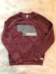 NEBRASKA STRONG ALTERNATIVE MAROON FLEECE CREW