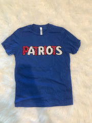 PATRIOTS BLUE TEE- YOUTH + ADULT