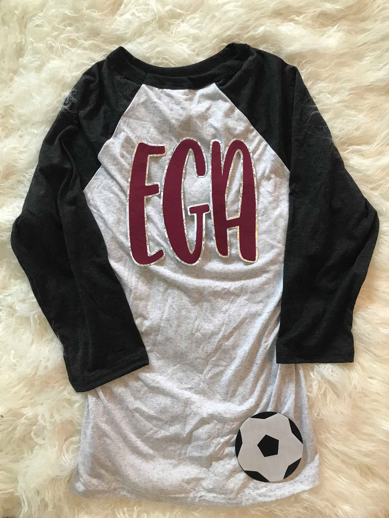 EGA AND SOCCER BALL BASEBALL TEE
