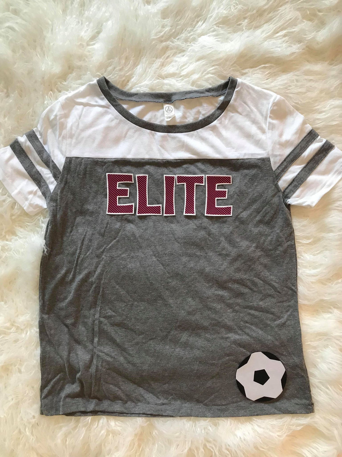MAROON ELITE AND SOCCER BALL STADIUM TEE