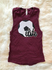 SOCCER BALL AND ELITE MAROON MUSCLE TANK