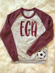 EGA AND SOCCER BALL FLEECE COLORBLOCK CREW