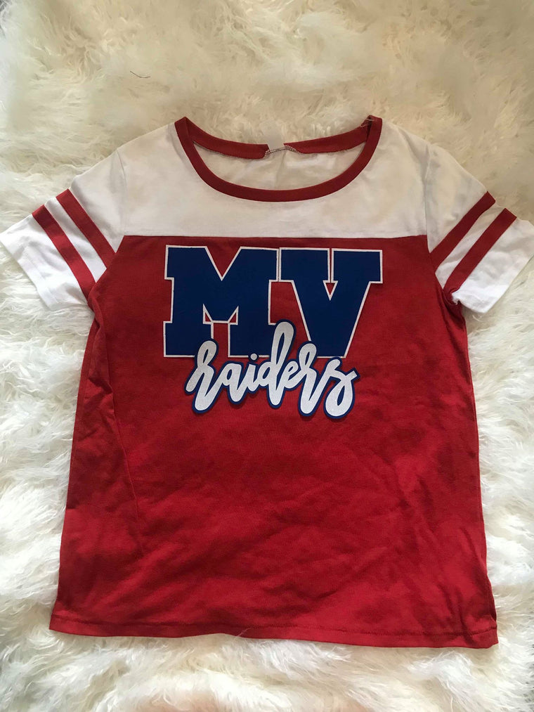 MV RAIDERS (COLLEGIATE) RED STADIUM TEE - *YOUTH & ADULT*