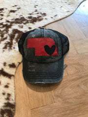 BLACK CC TRUCKER HAT RED LEATHER STATE