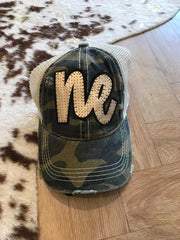 GREEN CAMO CC TRUCKER HAT- GOLD NE