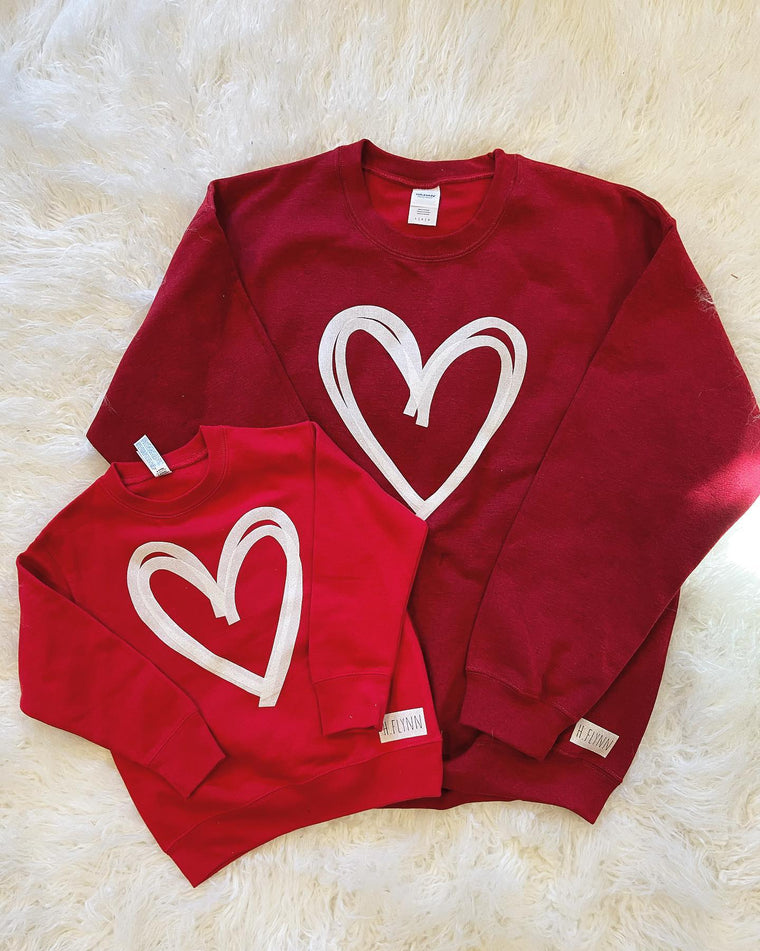 (TODDLER/ YOUTH/ ADULT) WHITE SPARKLE HEART RED CREW