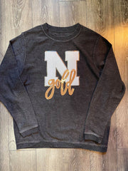WHITE N + GOLD THERMAL SWEATSHIRT