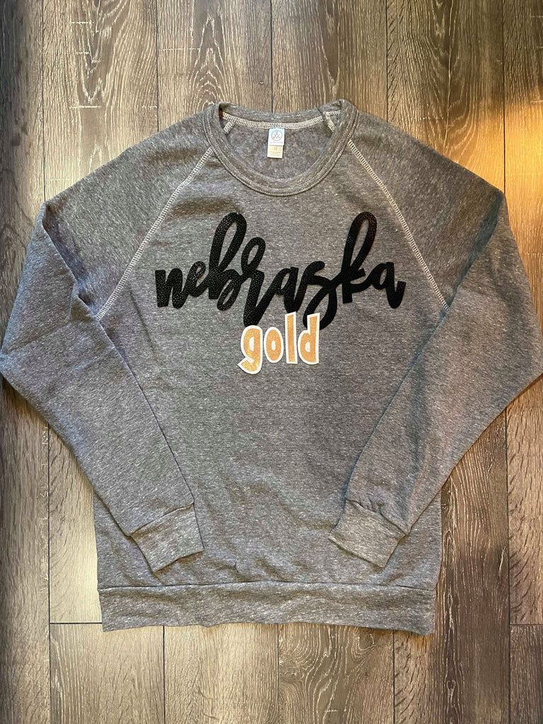 NEBRASKA GOLD COLORBLOCK FLEECE CREW