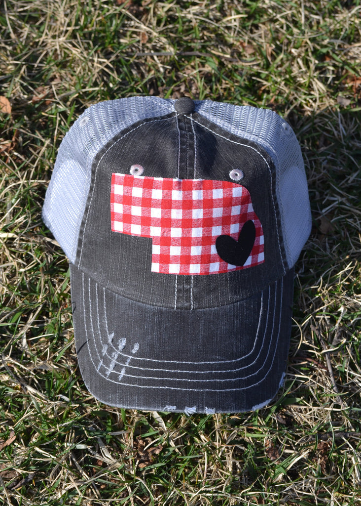 TRUCKER HAT WITH RED GINGHAM STATE AND BLACK HEART