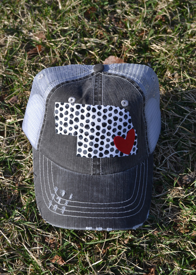 TRUCKER HAT WITH WHITE/ BLACK POLKA STATE AND RED HEART