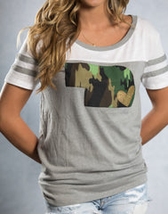 GREY TOUCHDOWN TEE WITH CAMO STATE AND GOLD METALLIC HEART