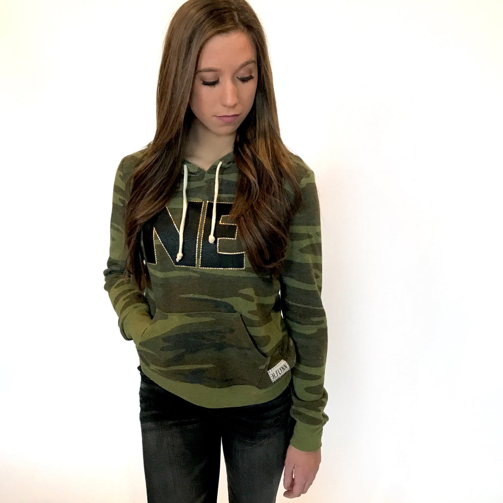 "Lightweight Camo Hoodie with Black ""NE"""