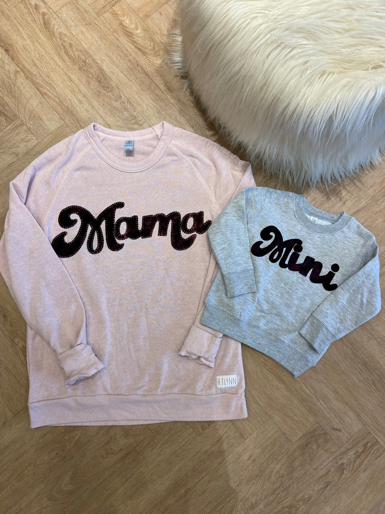 "ROSE PINK ""MAMA"" / GREY ""MINI"" CREW"