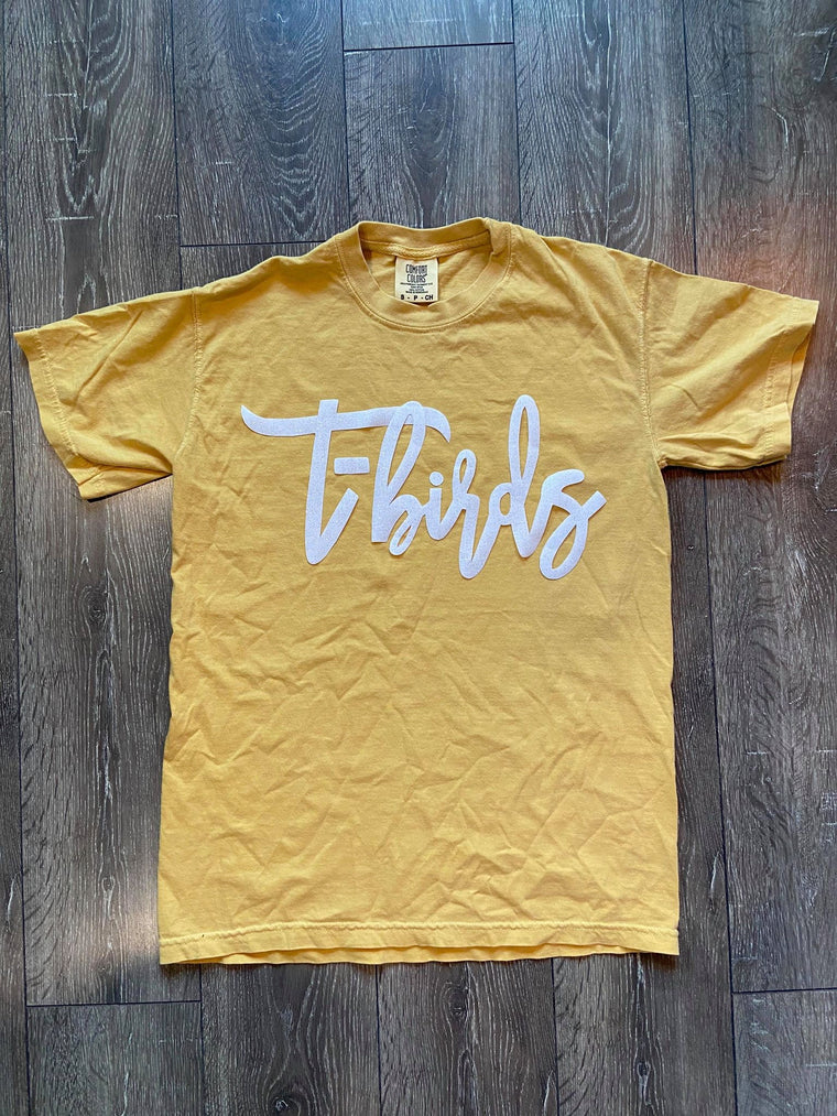 T-BIRDS YELLOW COMFORT COLORS TEE
