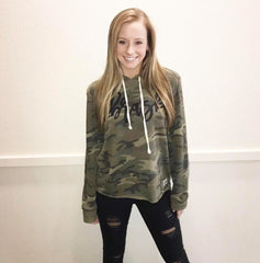 Camo Lightweight Hoodie with Cursive Nebraska