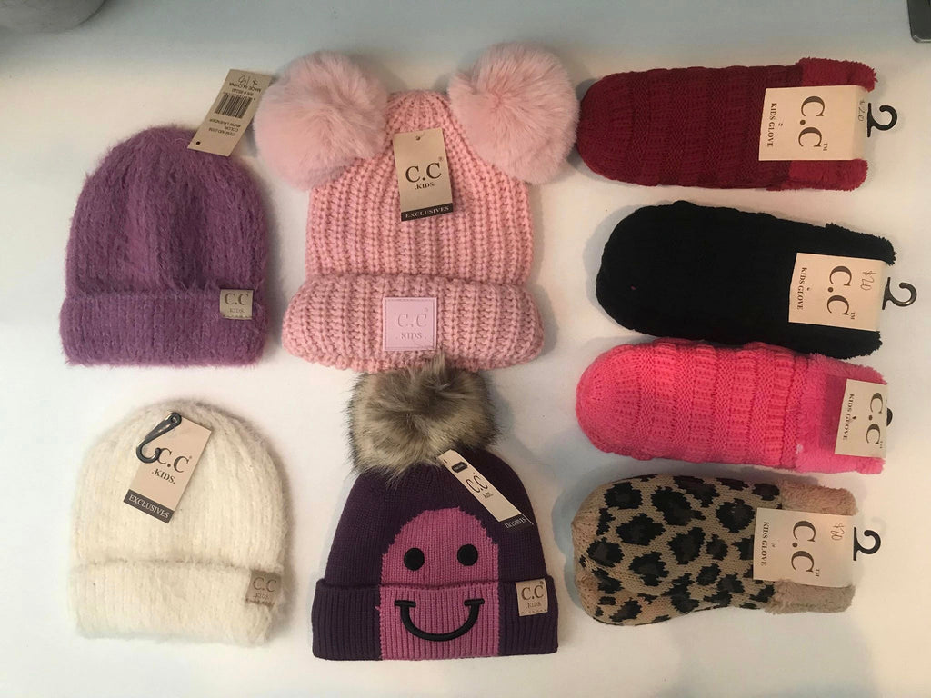 KIDS CC BEANIES AND MITTENS