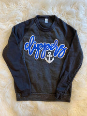 CLIPPERS + ANCHOR BLACK FLEECE CREW
