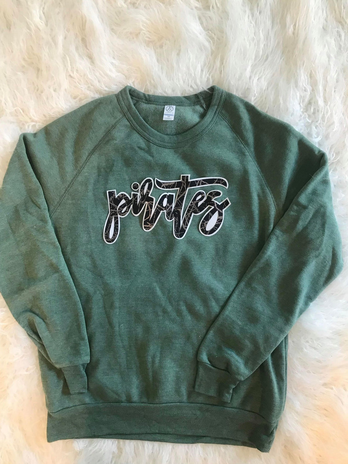 CURSIVE PIRATES GREEN COLORBLOCK CREW