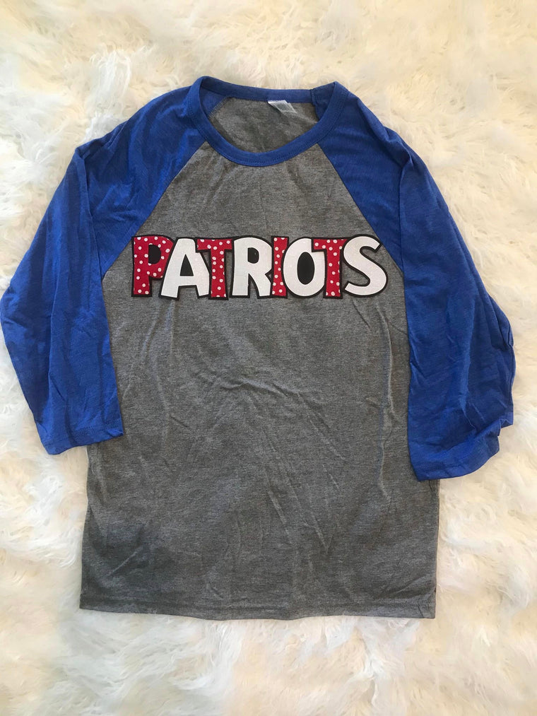 PATRIOTS BASEBALL TEE- YOUTH + ADULT