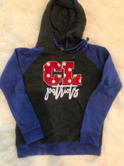 CL PATRIOTS RED POLKA COLORBLOCK HOODIE