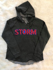 RED POLKA STORM CALIFORNIA LIGHTWEIGHT FLEECE HOODIE