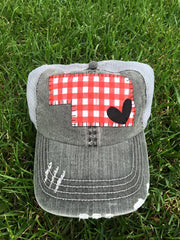 Red Gingham Dark Grey Hat