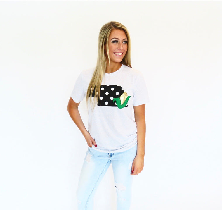 White Tee with Black Polka State and Corn