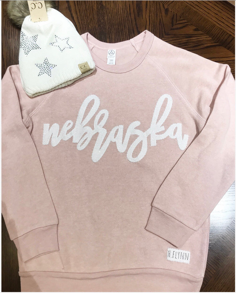 YOUTH WHITE SPARKLE NEBRASKA PINK ALTERNATIVE FLEECE CREW