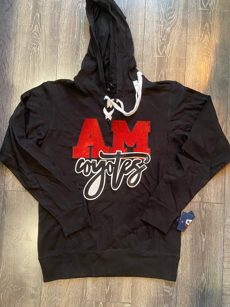 A-M COYOTES LACE TIE HOODIE