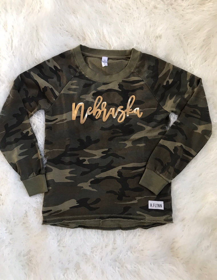 GOLD NEBRASKA ON CAMO CREWNECK