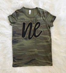 BLACK LEATHER NE WITH GOLD CAMO TEE