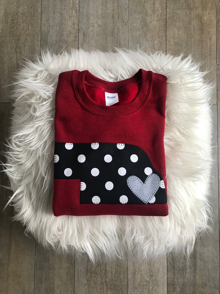 RED CREWNECK WITH BLACK/ WHITE POLKA STATE AND SILVER HEART