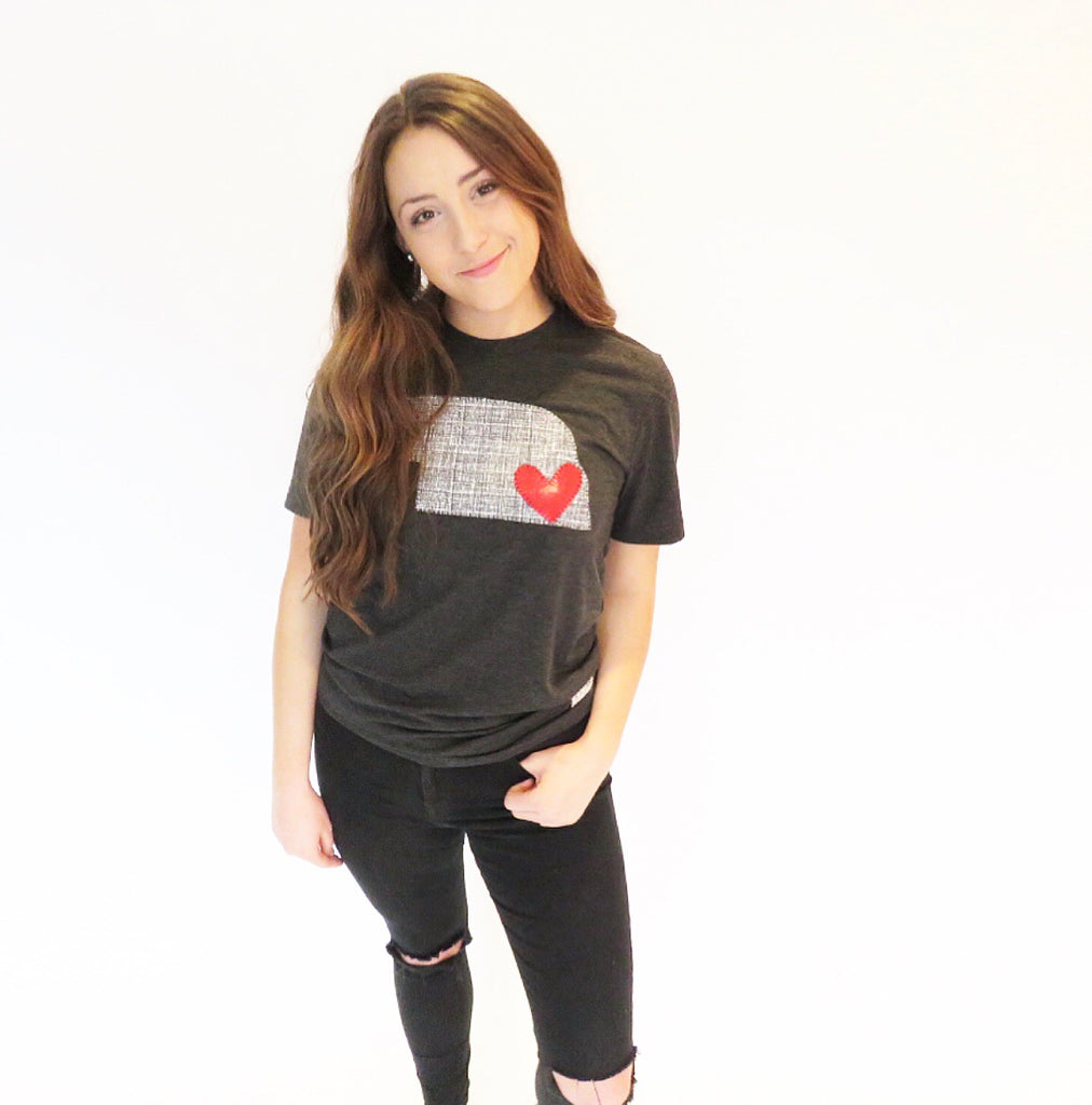 Black Graphite State Tee with Red Metallic Heart