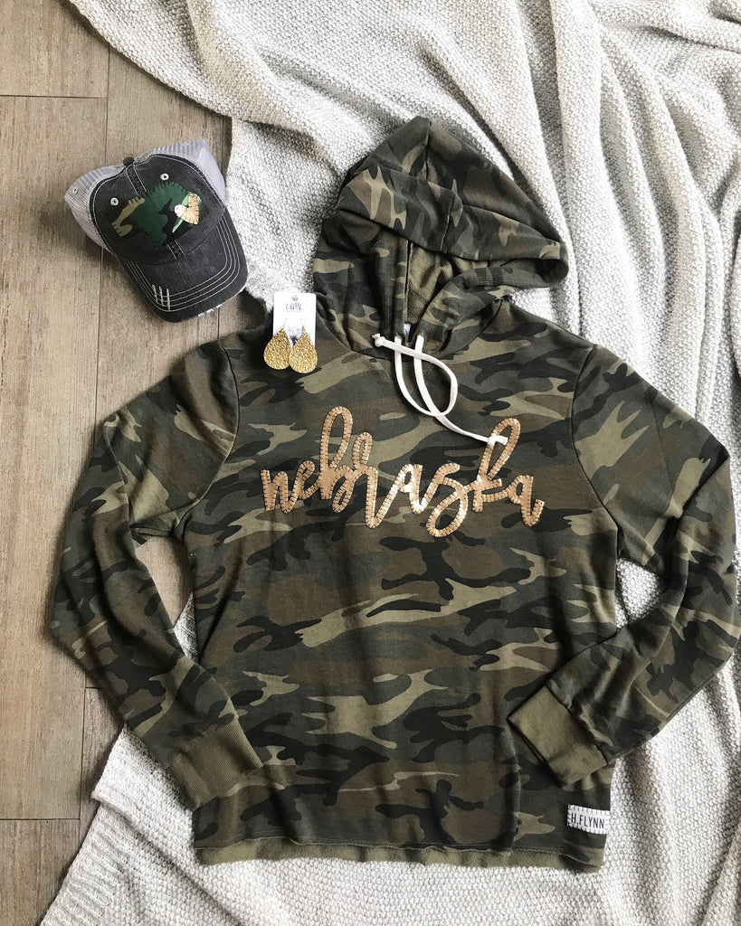 CAMO HOODIE WITH GOLD METALLIC NEBRASKA