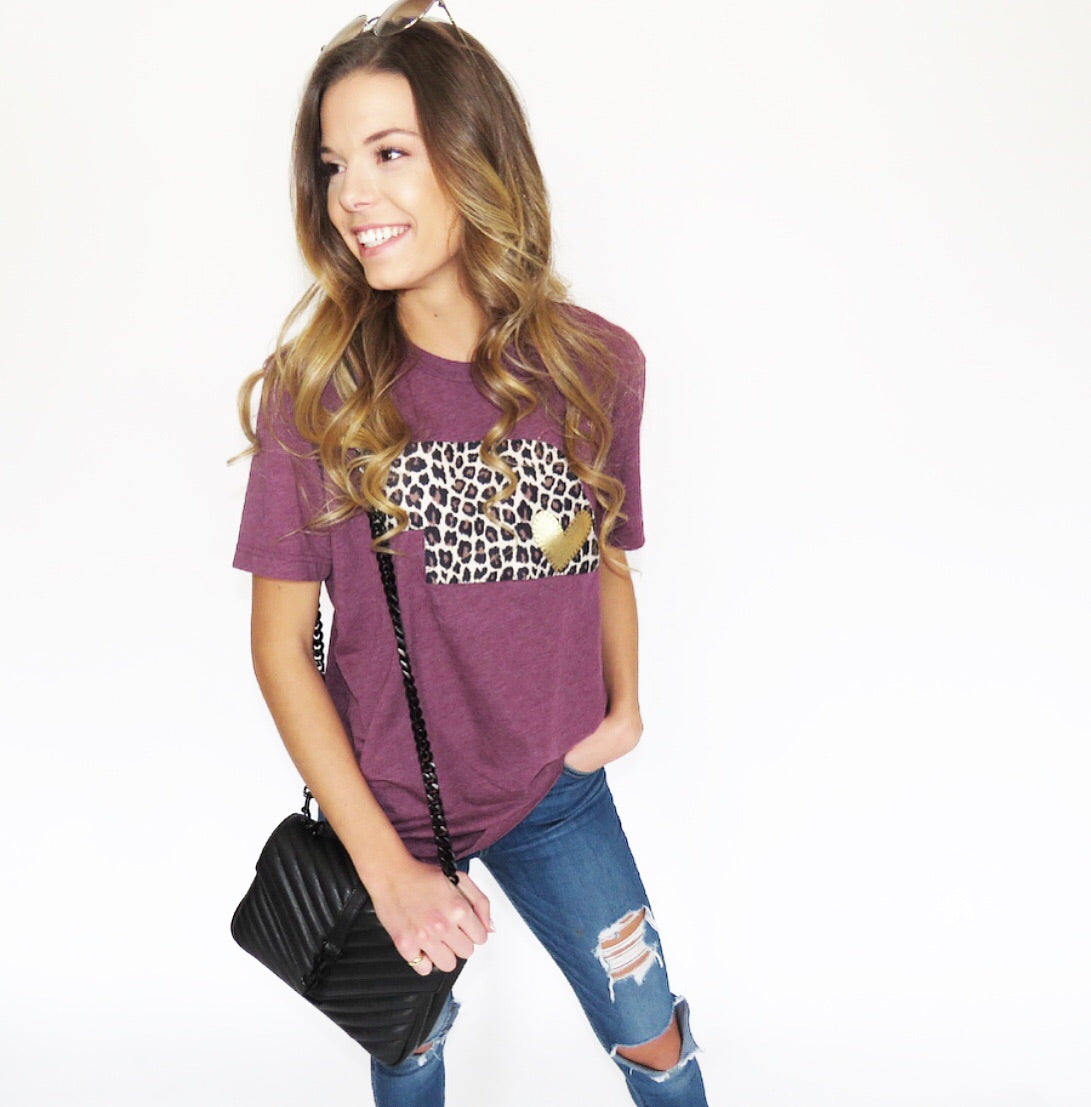 CHEETAH STATE AND GOLD METALLIC HEART TEE