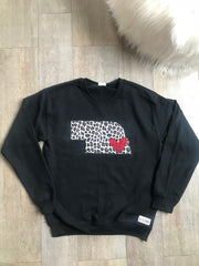 Cheetah State and Heart Crewneck