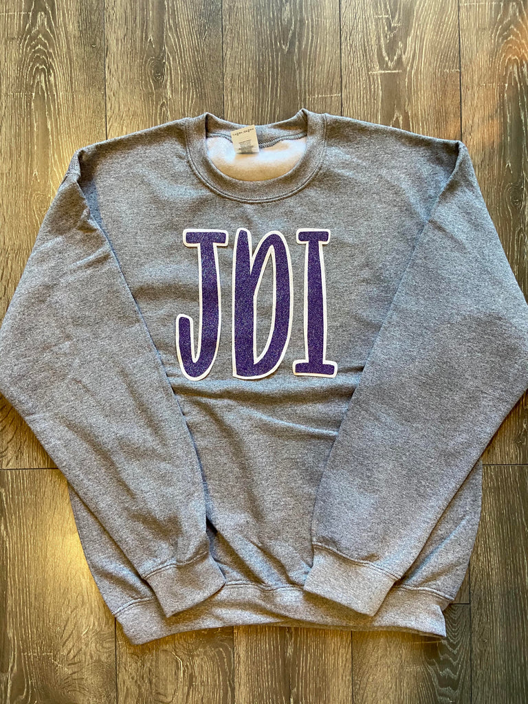 PURPLE SPARKLE JDI - GREY GILDAN CREW