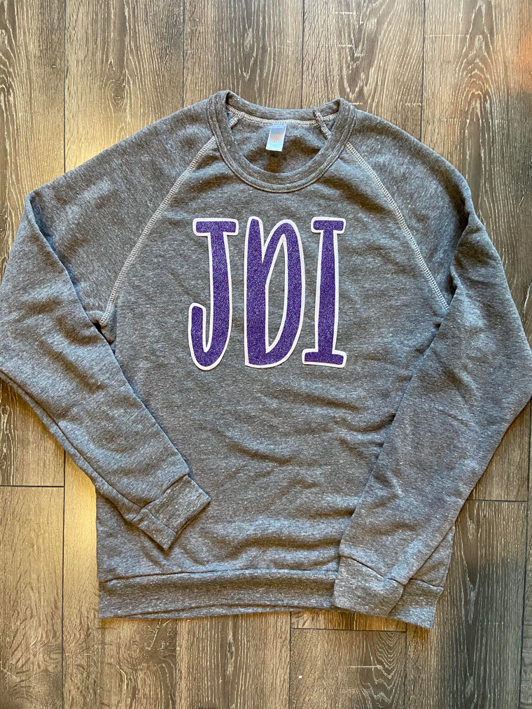 PURPLE SPARKLE JDI - GREY FLEECE CREW