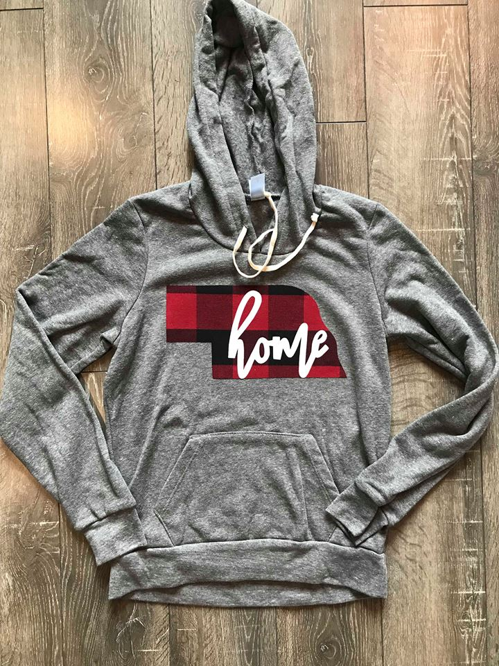 "PLAID NEBRASKA WITH ""HOME"" ON FLEECE HOODIE"