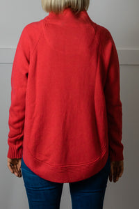 Red Funnel Neck Jumper