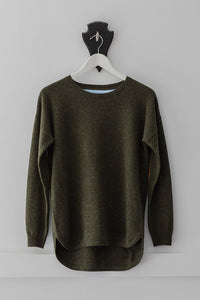 Khaki Swing Jumper with Tan Patches