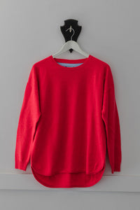 Red Swing Jumper with Ivory Patches