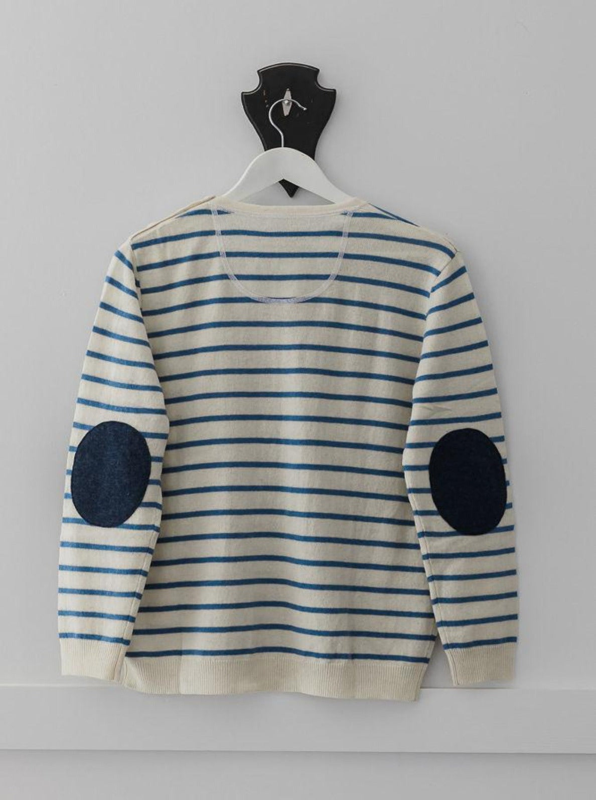 Cream and Cobalt Blue Breton Jumper with Navy  Patches