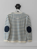Load image into Gallery viewer, Cream and Cobalt Blue Breton Jumper with Navy  Patches
