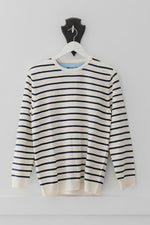 Load image into Gallery viewer, Cream and Navy Breton Jumper with Denim Patches