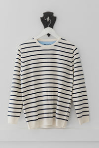 Cream and Navy Breton Jumper with Denim Patches
