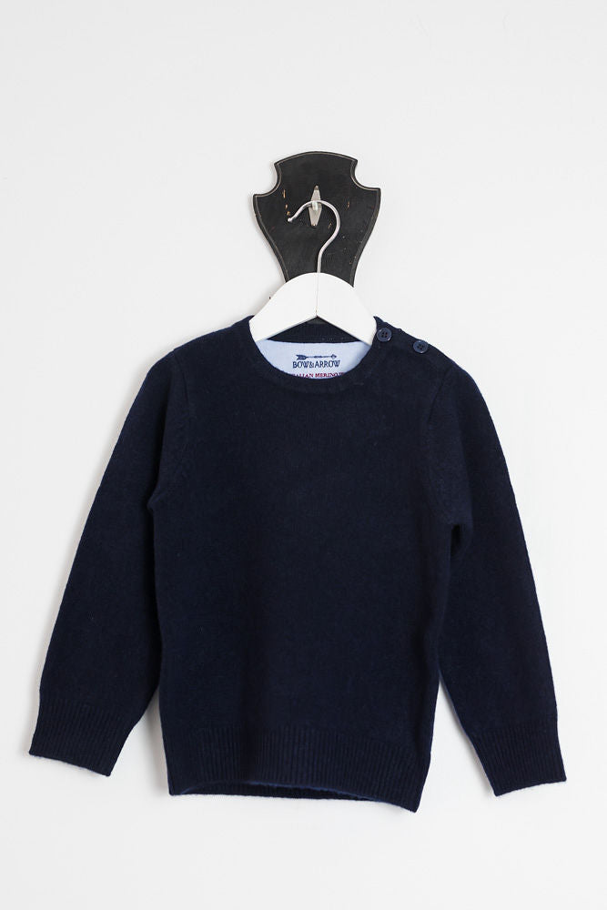 Navy Freddie Crew Neck Jumper with Tan Patches