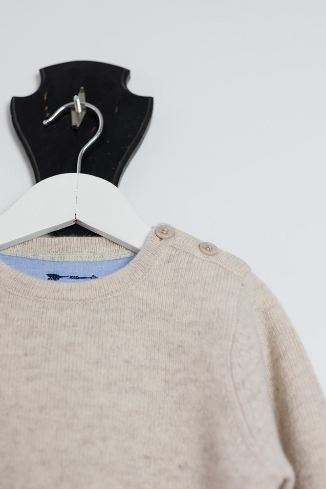 Oatmeal Florence Crew Neck Jumper with Betsy Liberty Patches